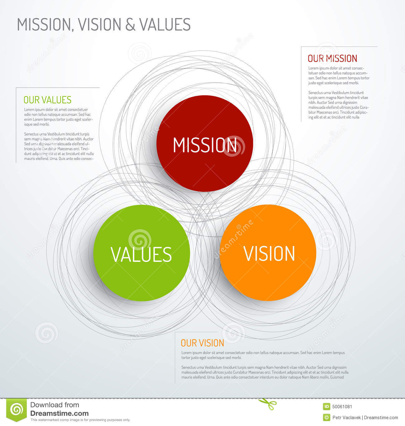 mission vision and values diagram stock vector. Black Bedroom Furniture Sets. Home Design Ideas