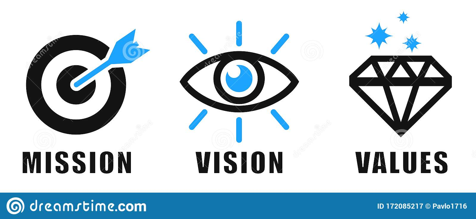 Mission, Vision, Values icons concept, business success and growth, web page template – vector