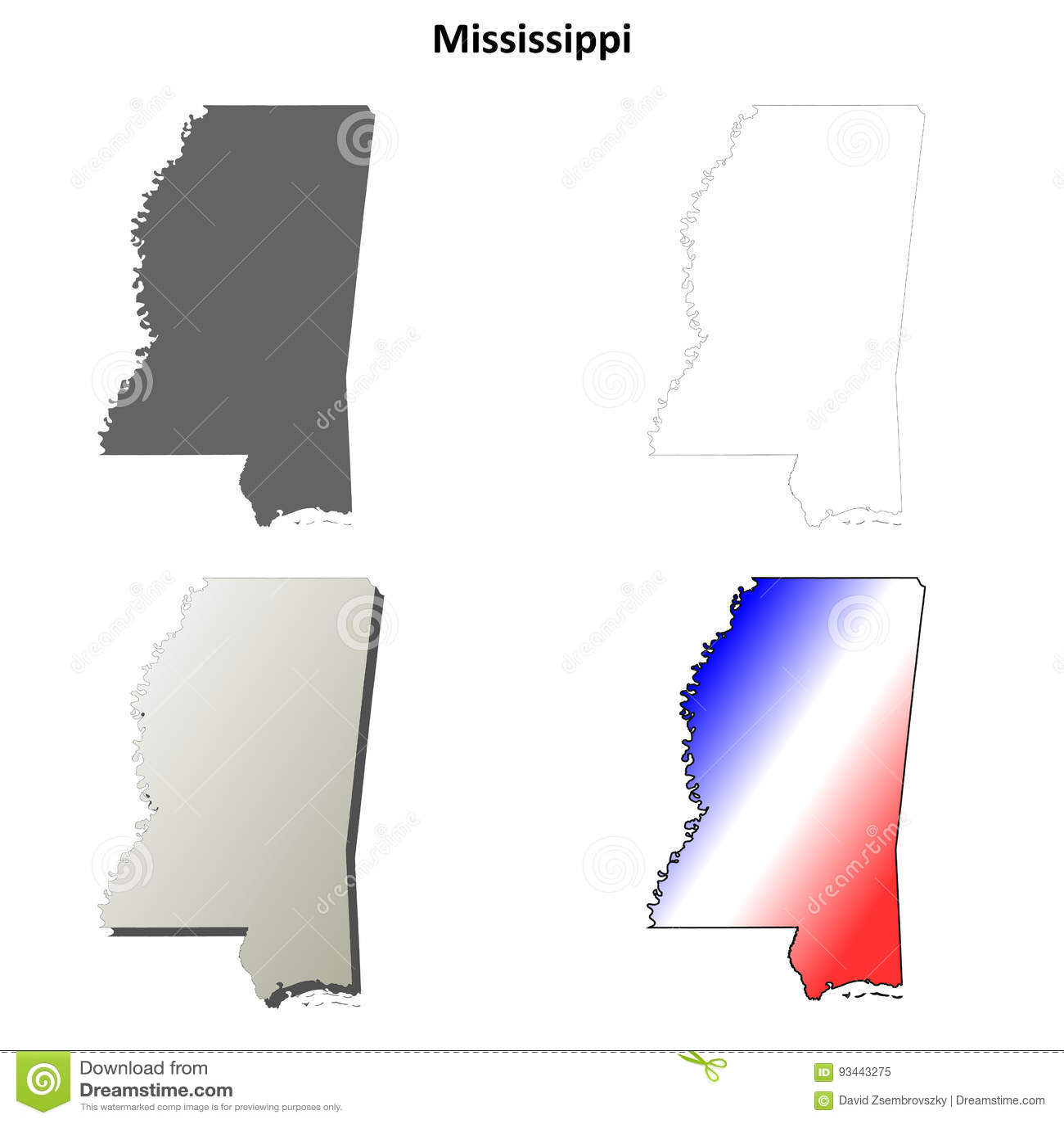 Mississippi State Map Outline.Mississippi Outline Map Set Stock Vector Illustration Of