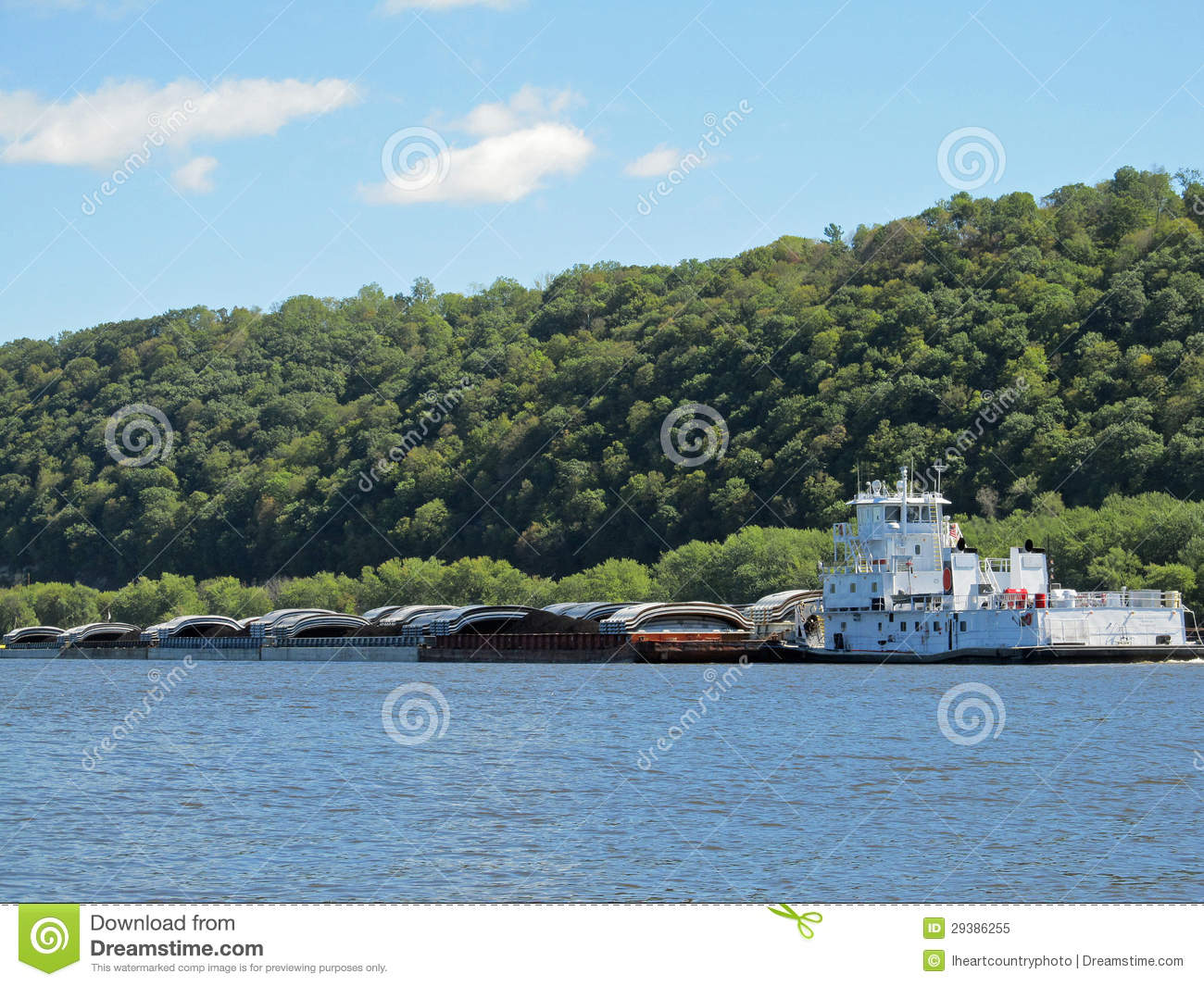Mississippi River Tugboat And Barges Royalty Free Stock Photo - Image ...