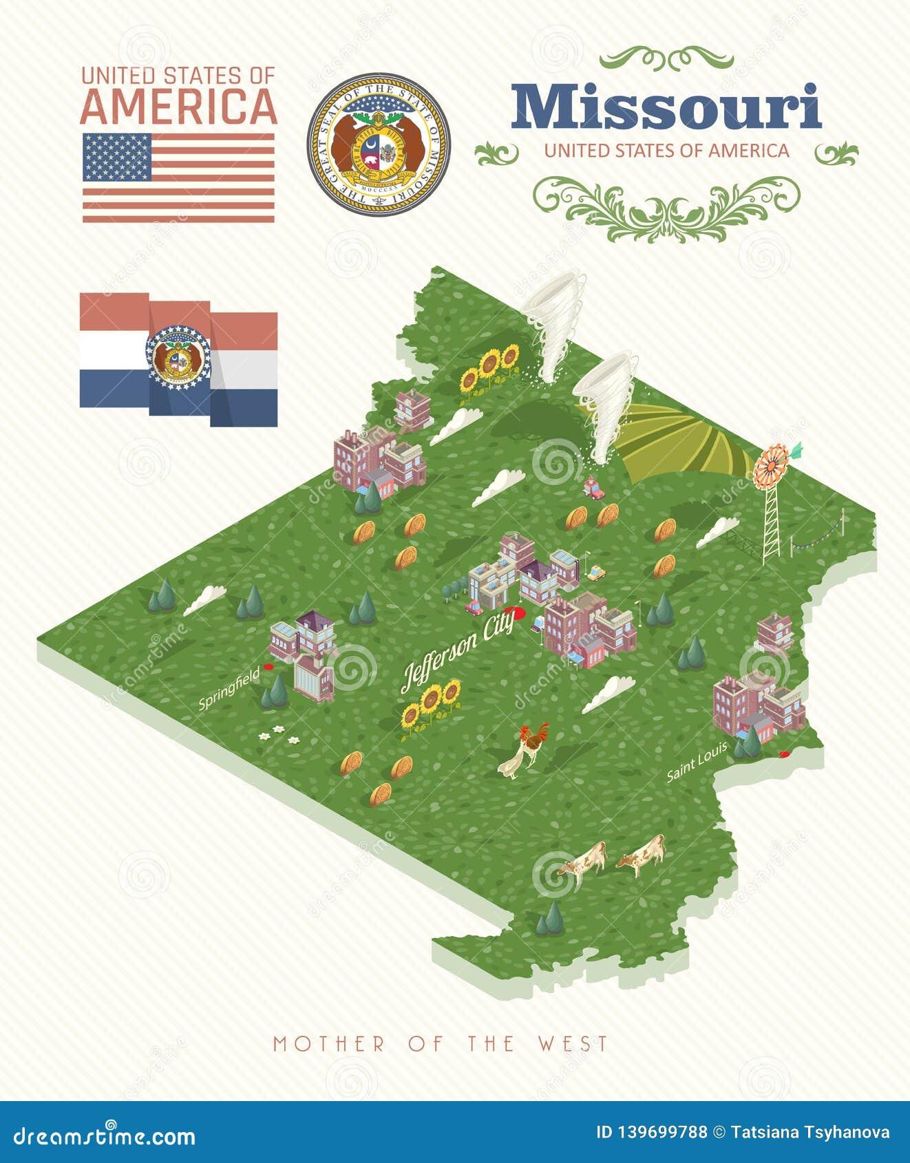Missouri is een staat van de V.S. isometrisch Toeristenprentbriefkaar en herinnering Mooie plaatsen van de Verenigde Staten van A