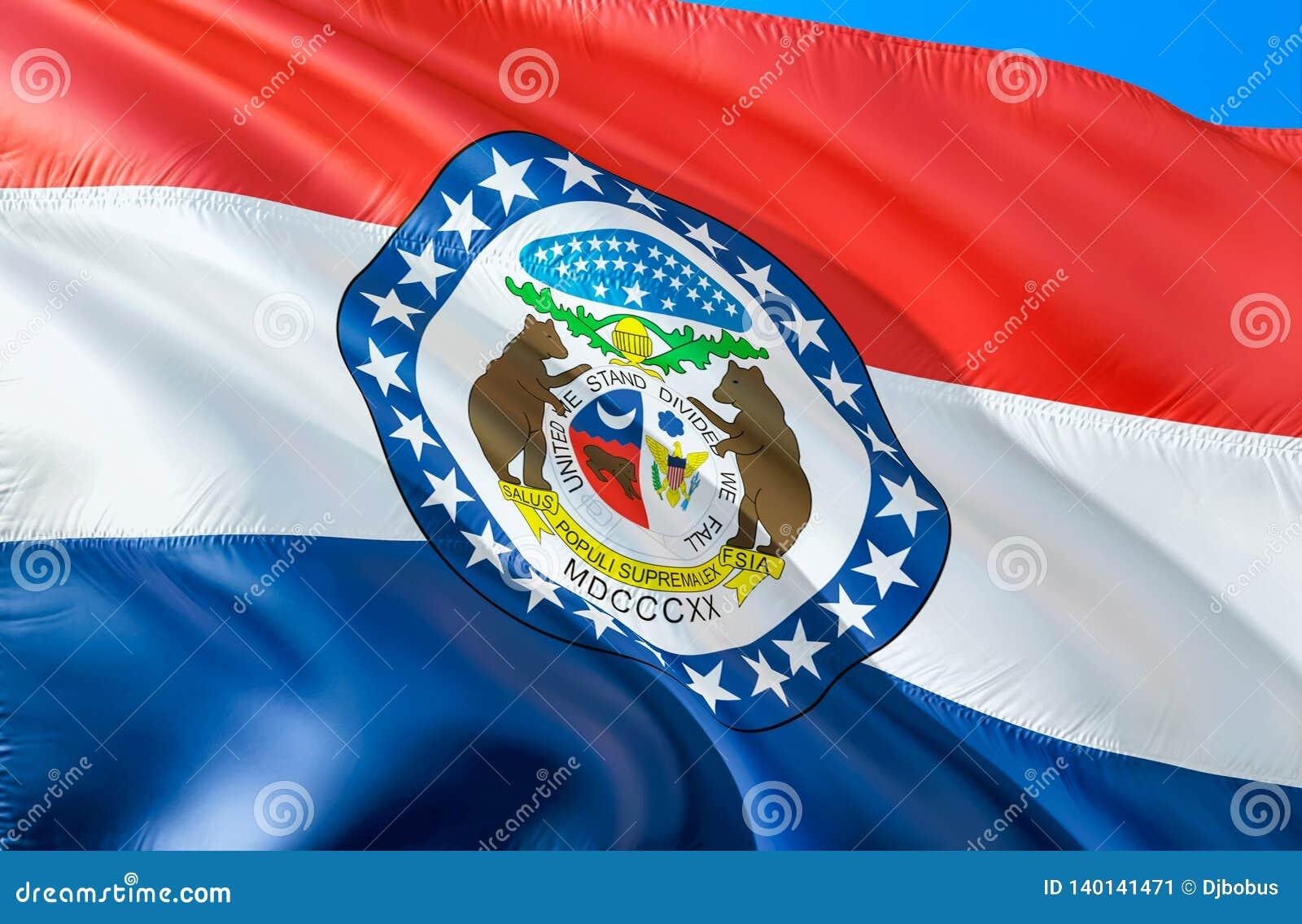 Missouri flaga 3D falowania usa stanu flagi projekt Obywatel USA symbol Missouri stan, 3D rendering Obywatelów kolory i