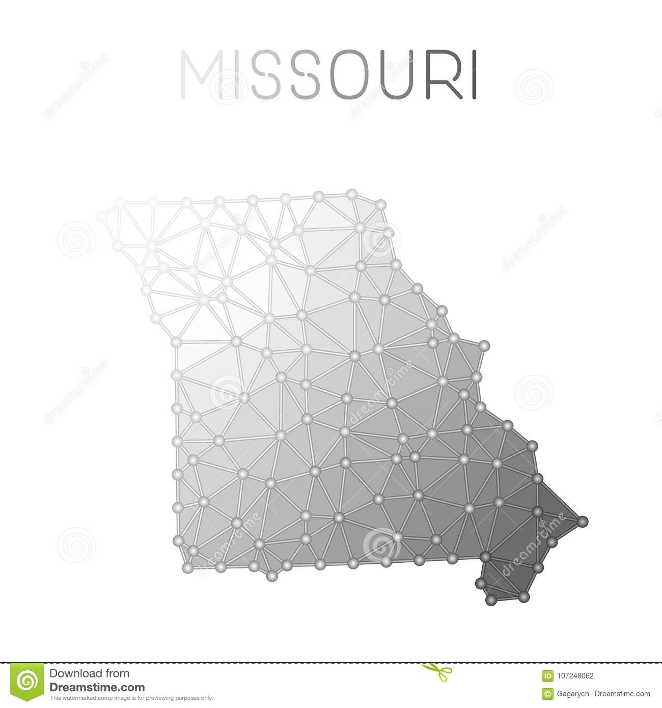 Missouri Polygonal Vector Map Stock Vector Illustration Of