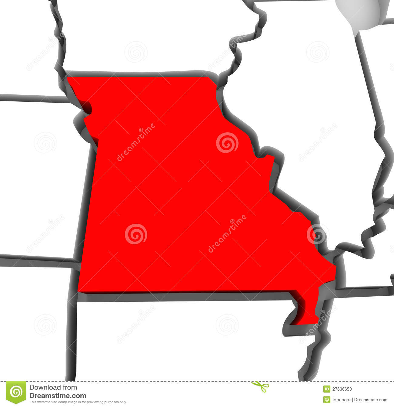 Missouri Red Abstract 3D State Map United States America Royalty ...