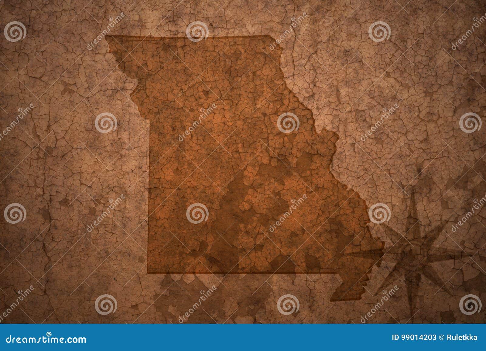 Missouri stanu mapa na starym rocznika papieru tle