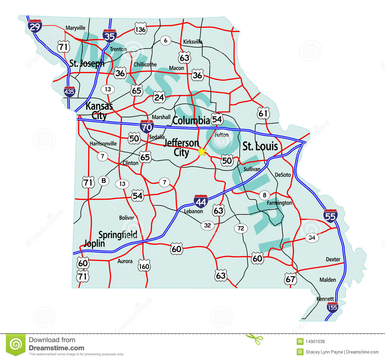 Missouri State Interstate Map Royalty Free Stock Photos