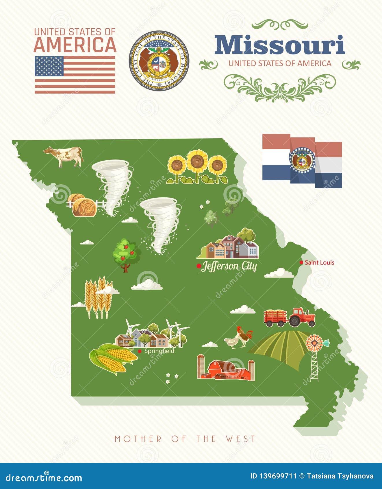 Missouri Is A US State. Tourist Postcard And Souvenir ...