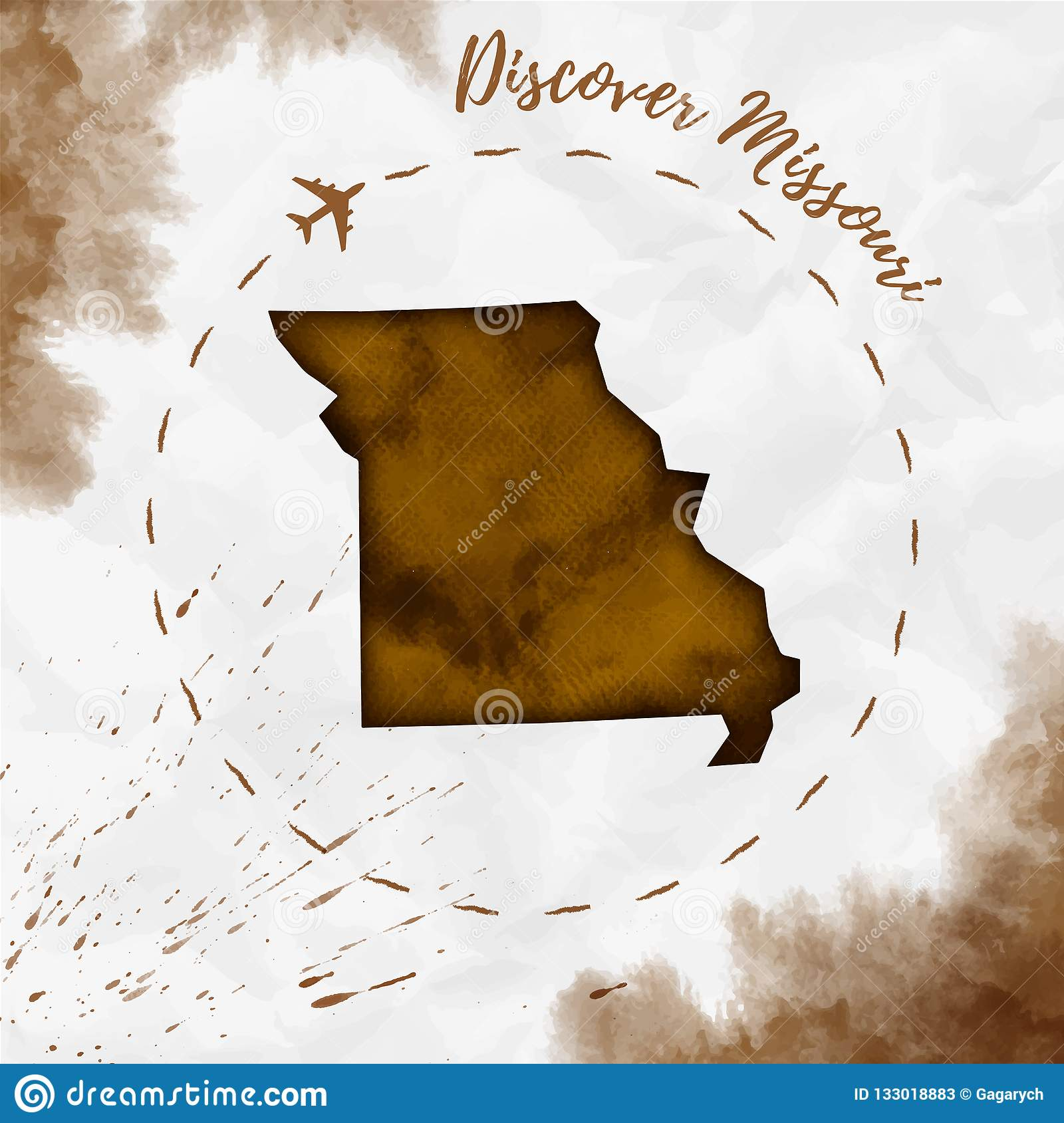 Missouri Watercolor Us State Map In Sepia Colors Stock Vector
