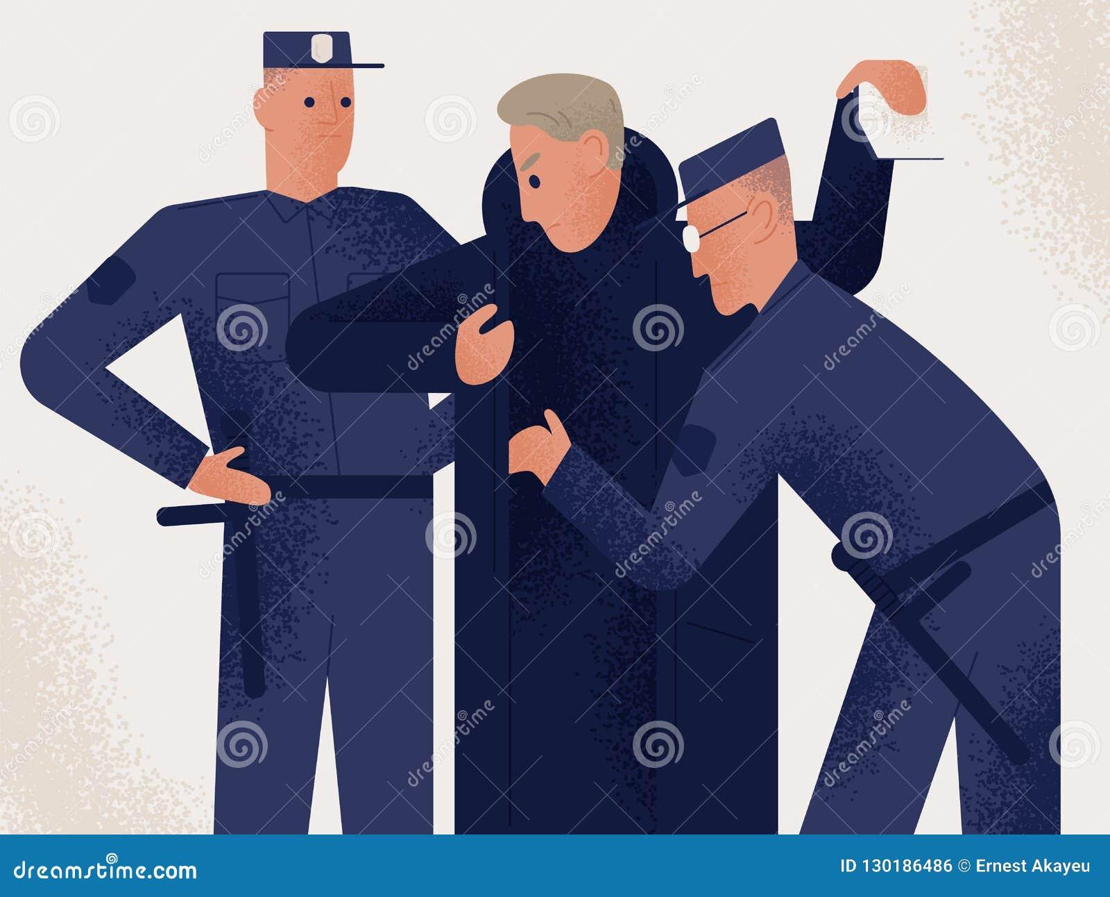 Misstänkt eller brottsling för sökande för innehav för iklädd likformig för två poliser manlig Man som kontrolleras av par av pol