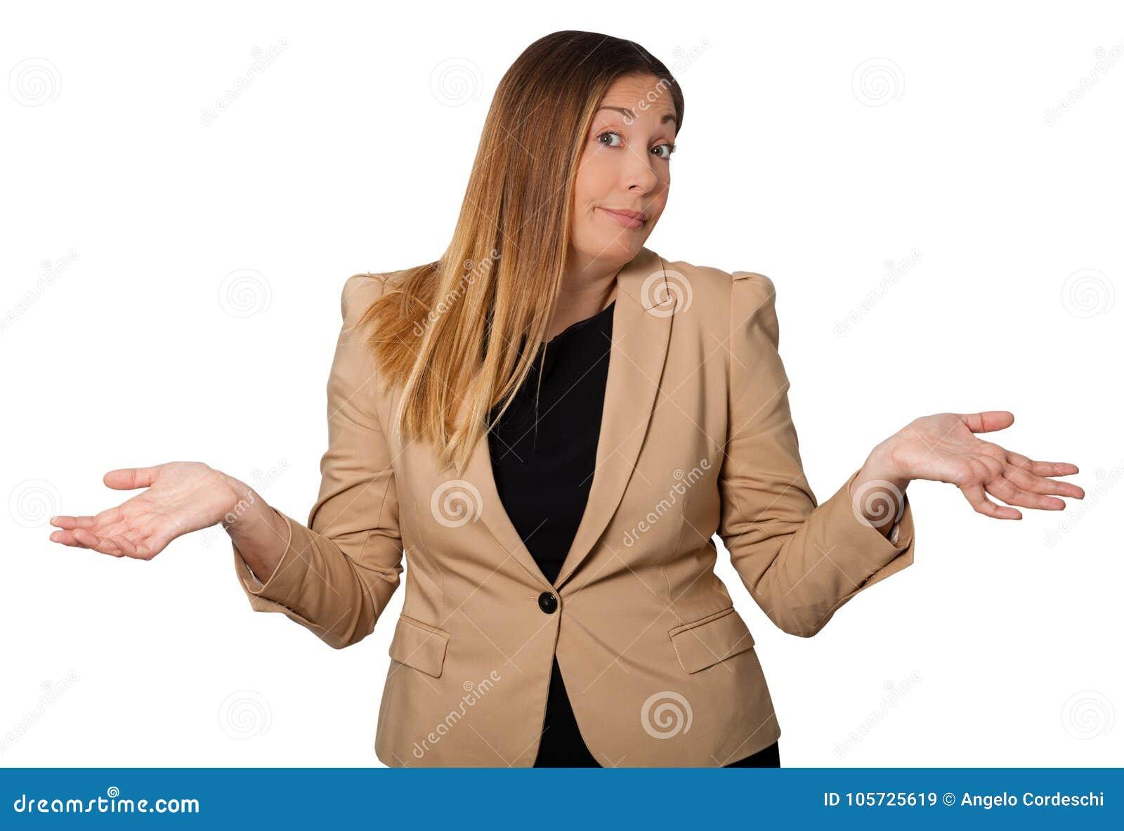 Misstrogenhet härlig kvinna för tvivel Öppna armar vitt På white
