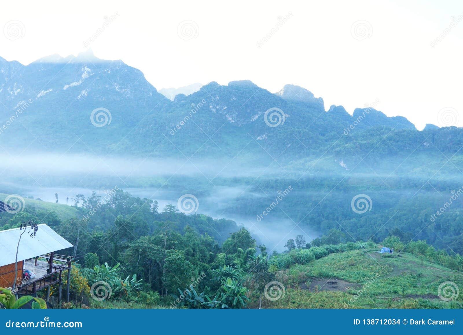 Mist in de ochtend in Doi Chiang Dao, Thailand, overvloed altijdgroene bos en mistig