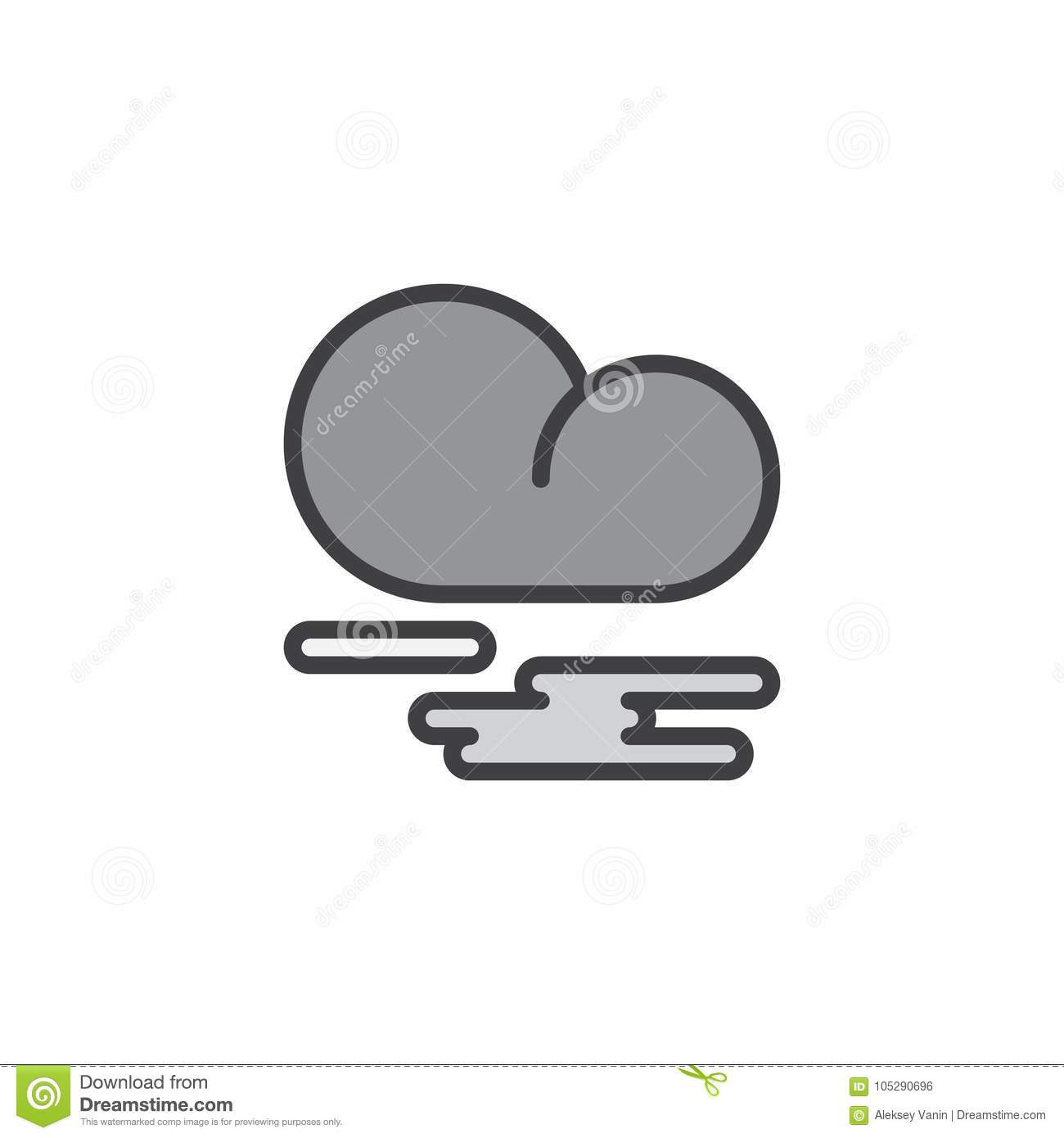 Mist Fog And Cloud Filled Outline Icon Stock Vector Illustration