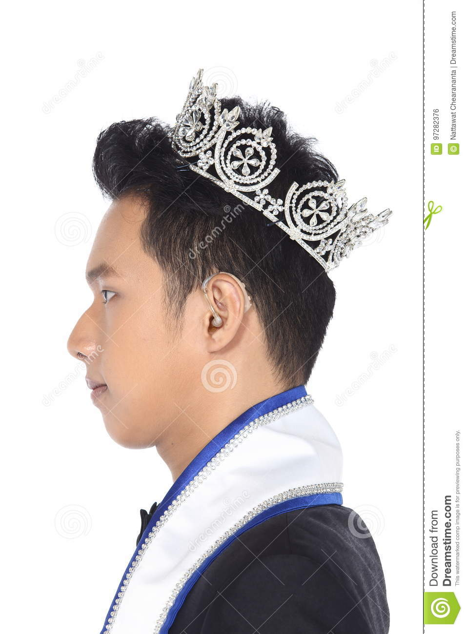 Mister Pageant Contest In Evening Ball Suit With Diamond Crown