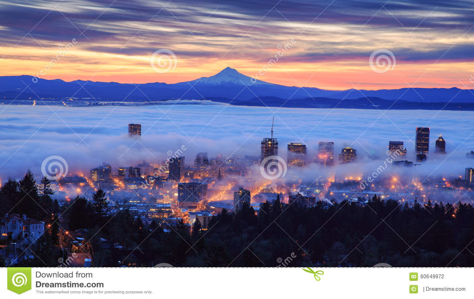 Mistige zonsopgang van Portland