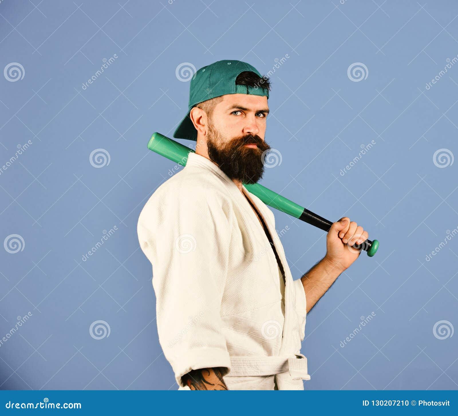 Mistrz dostaje gotowym walczyć Gracz baseballa z poważną twarzą
