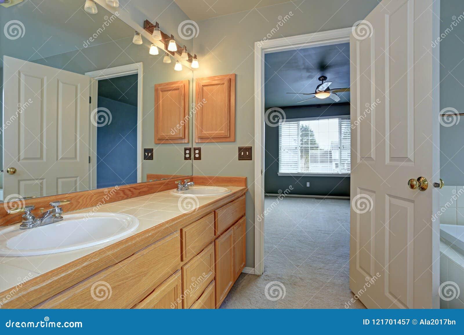 Mistrzowskie łazienka apartamentu cechy zaświecają drewnianego bezcelowość gabineta