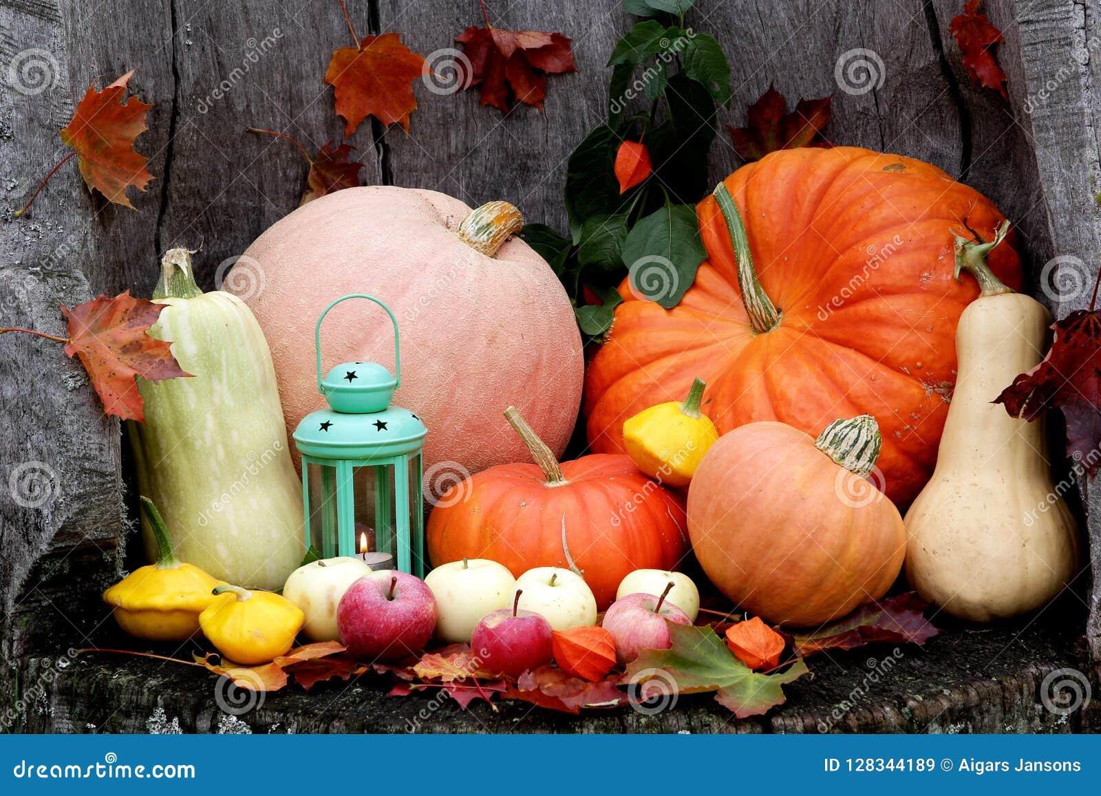 Mistura de Dia das Bruxas Autumn Pumpkin em um fundo de madeira