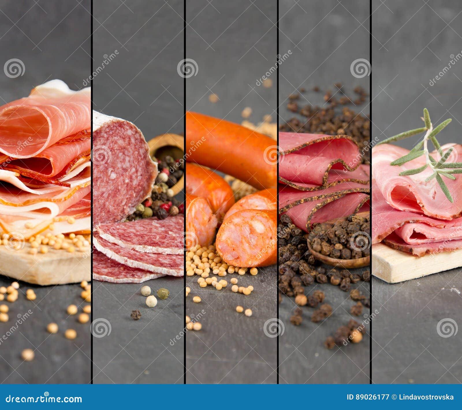 Mistura do presunto e do salame