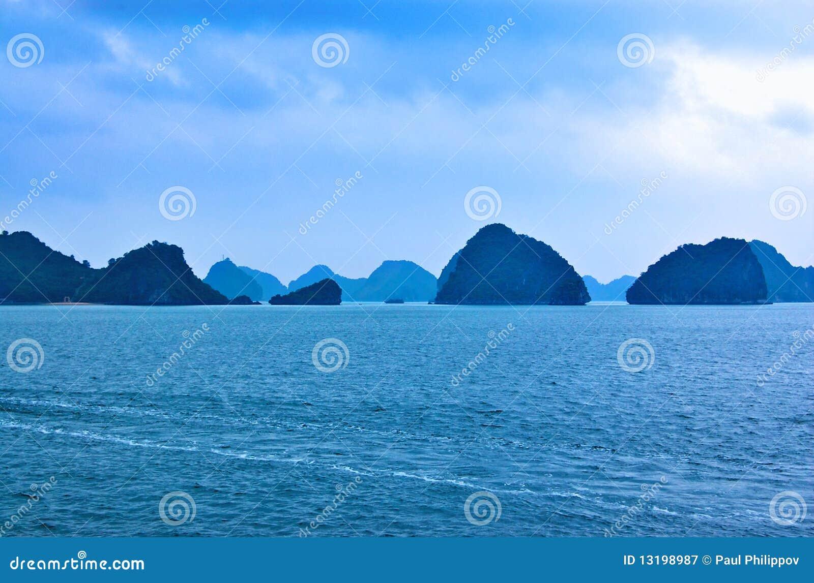 Royalty Free Stock Photography: Misty karst landscape of Ha Long Bay ...