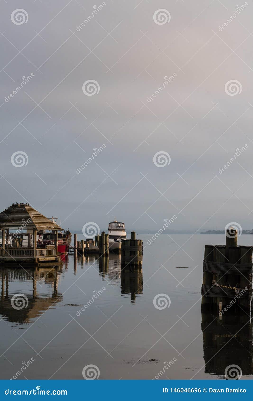 Misty Morning soluppg?ng p? Potomacen - fartyg vilar i hamnen