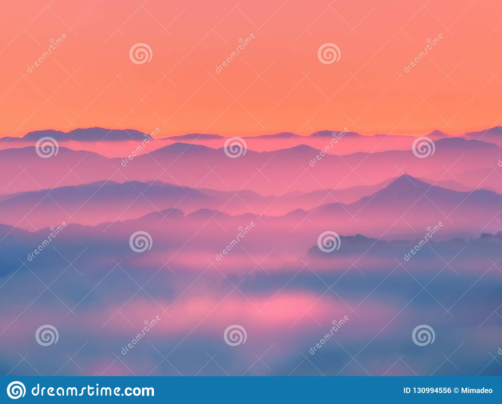Misty mountains silhouettes