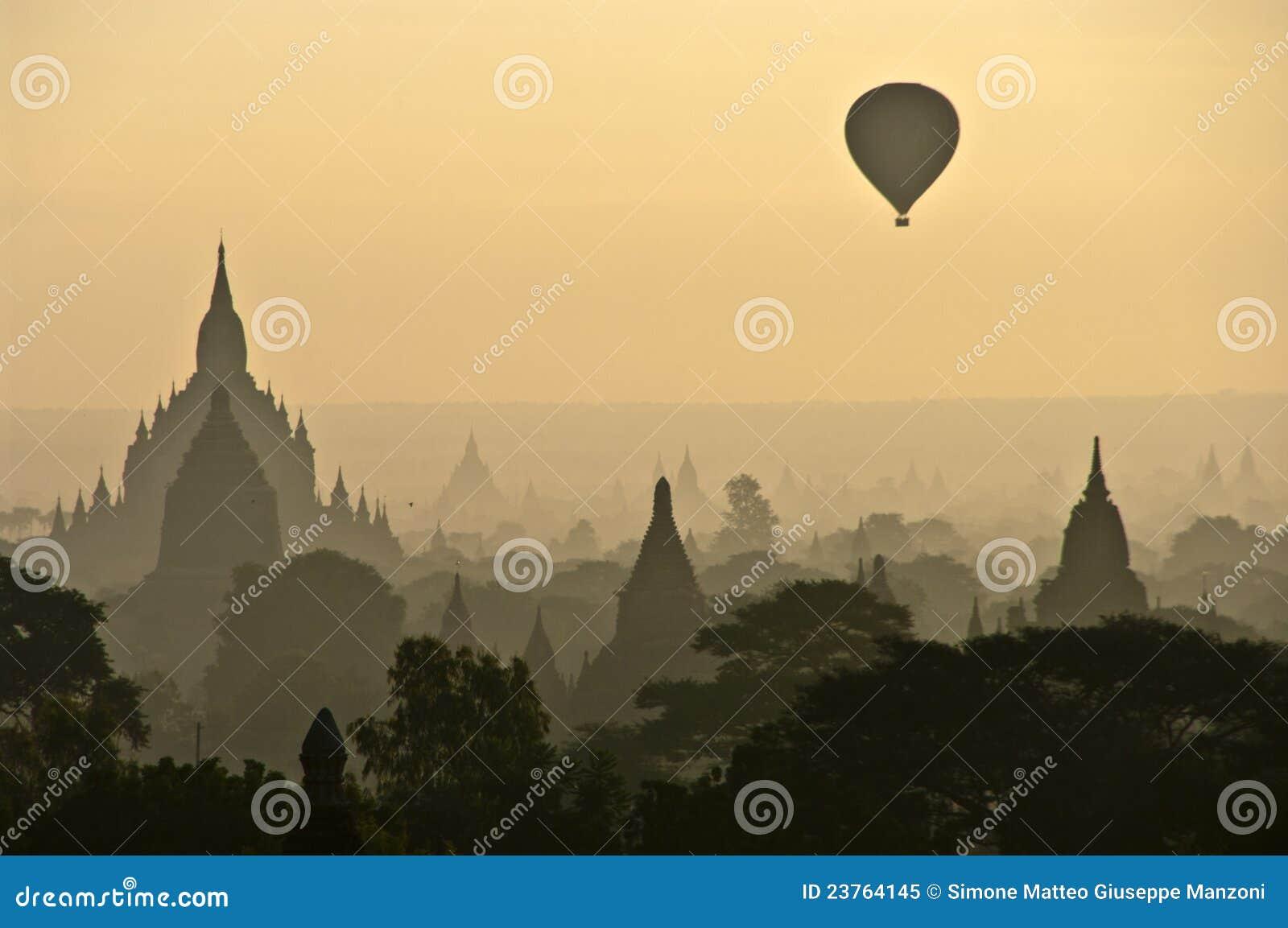 A misty sunrise in Bagan