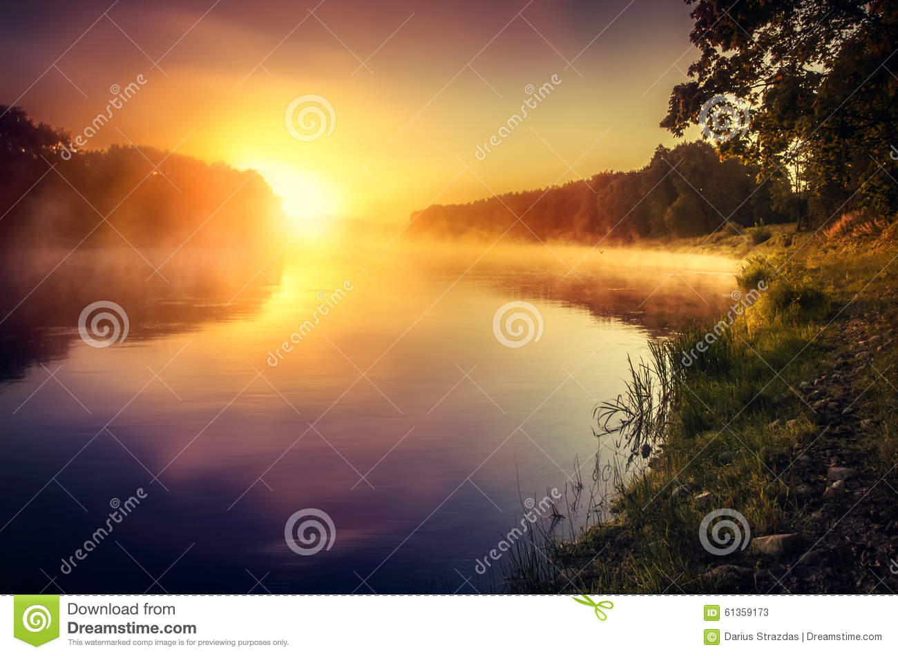 Download Misty Sunrise Over The River Stock Image - Image of nobody, baltic: 61359173