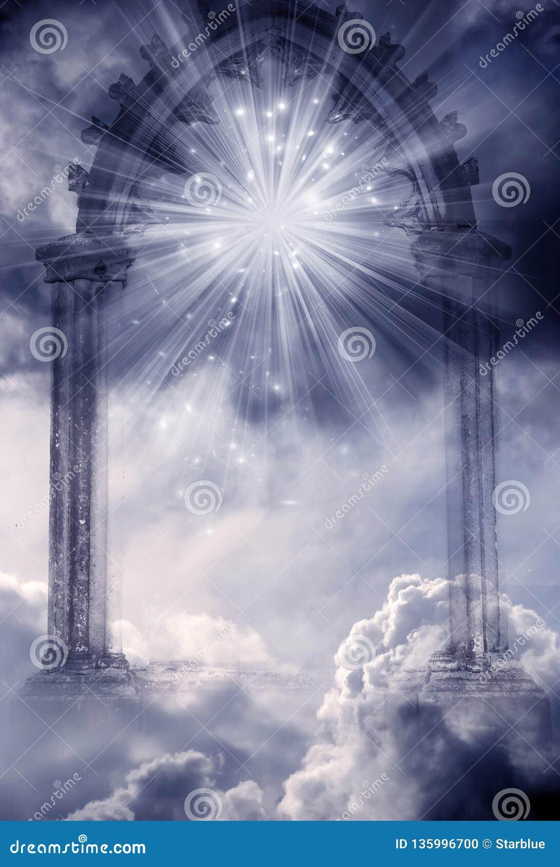 Mistyczna boska anioł brama raj z promieniami światło i gwiazdy