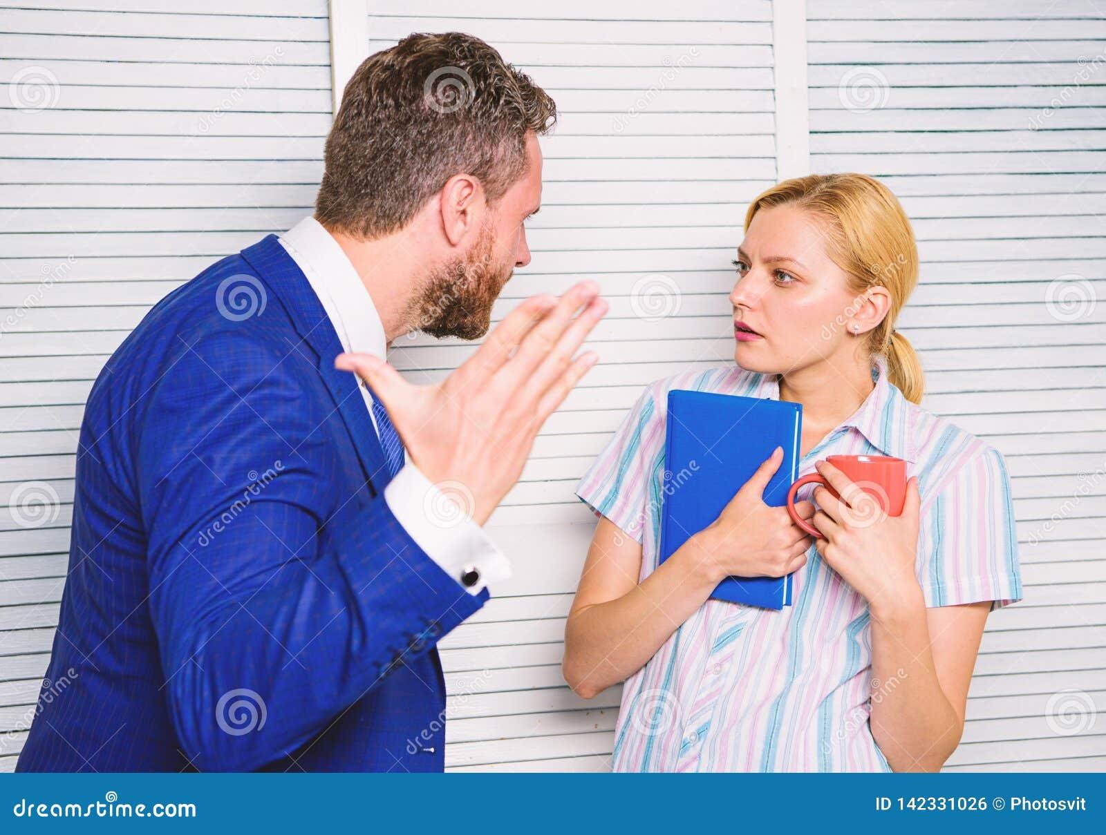 Misunderstanding between colleagues. Prejudice and personal attitude to employee. Tense conversation or quarrel between
