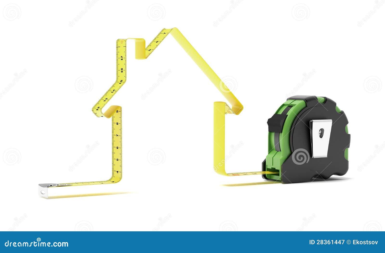 Misura di nastro sotto forma di una casa