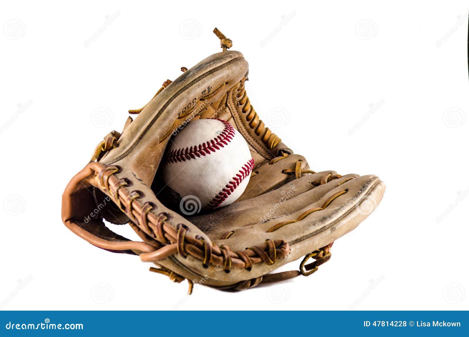 Mitón y bola del juego de béisbol