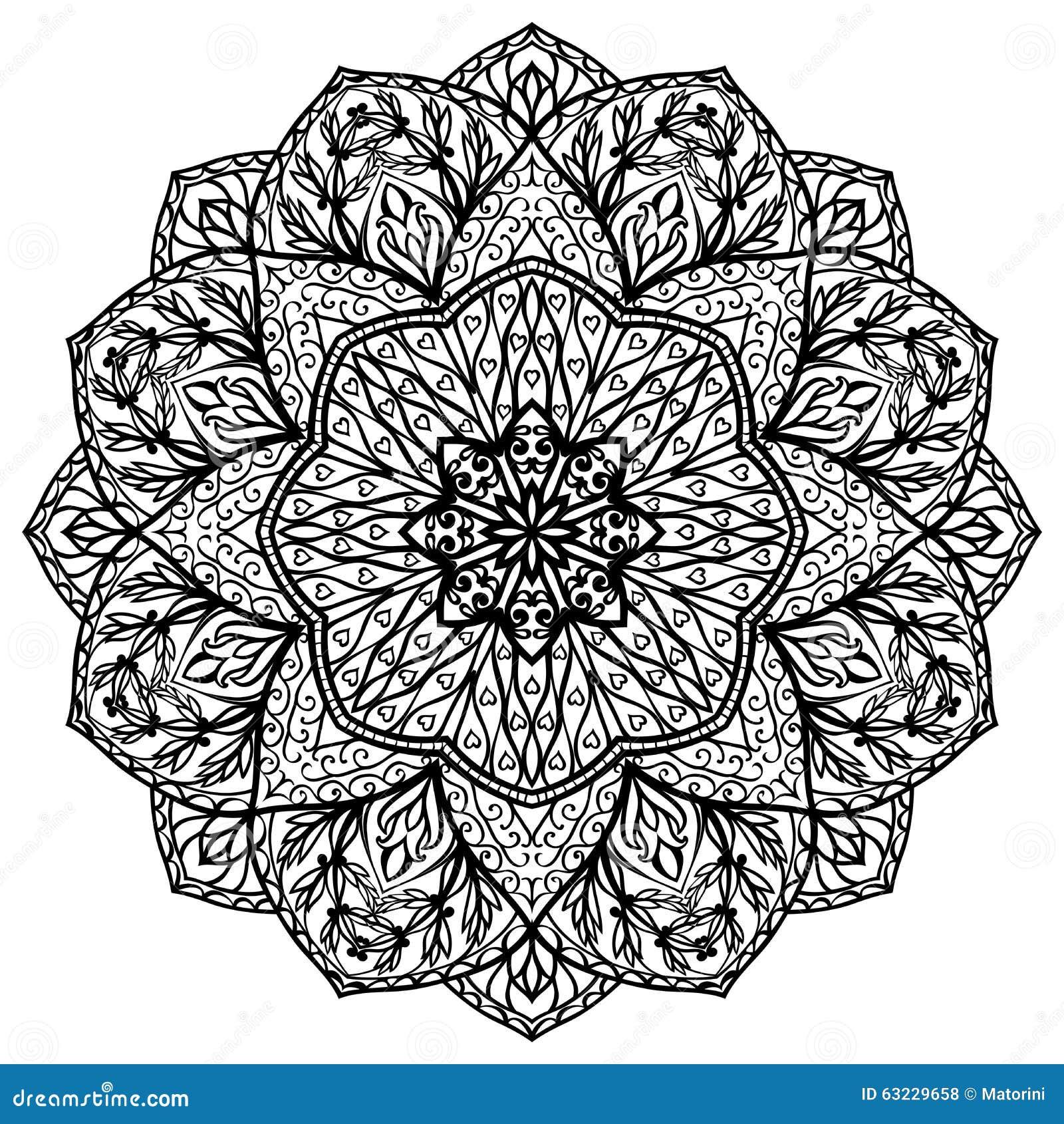 Mit Filigran Geschmckte BlumenMandala Vektor Abbildung Bild 63229658