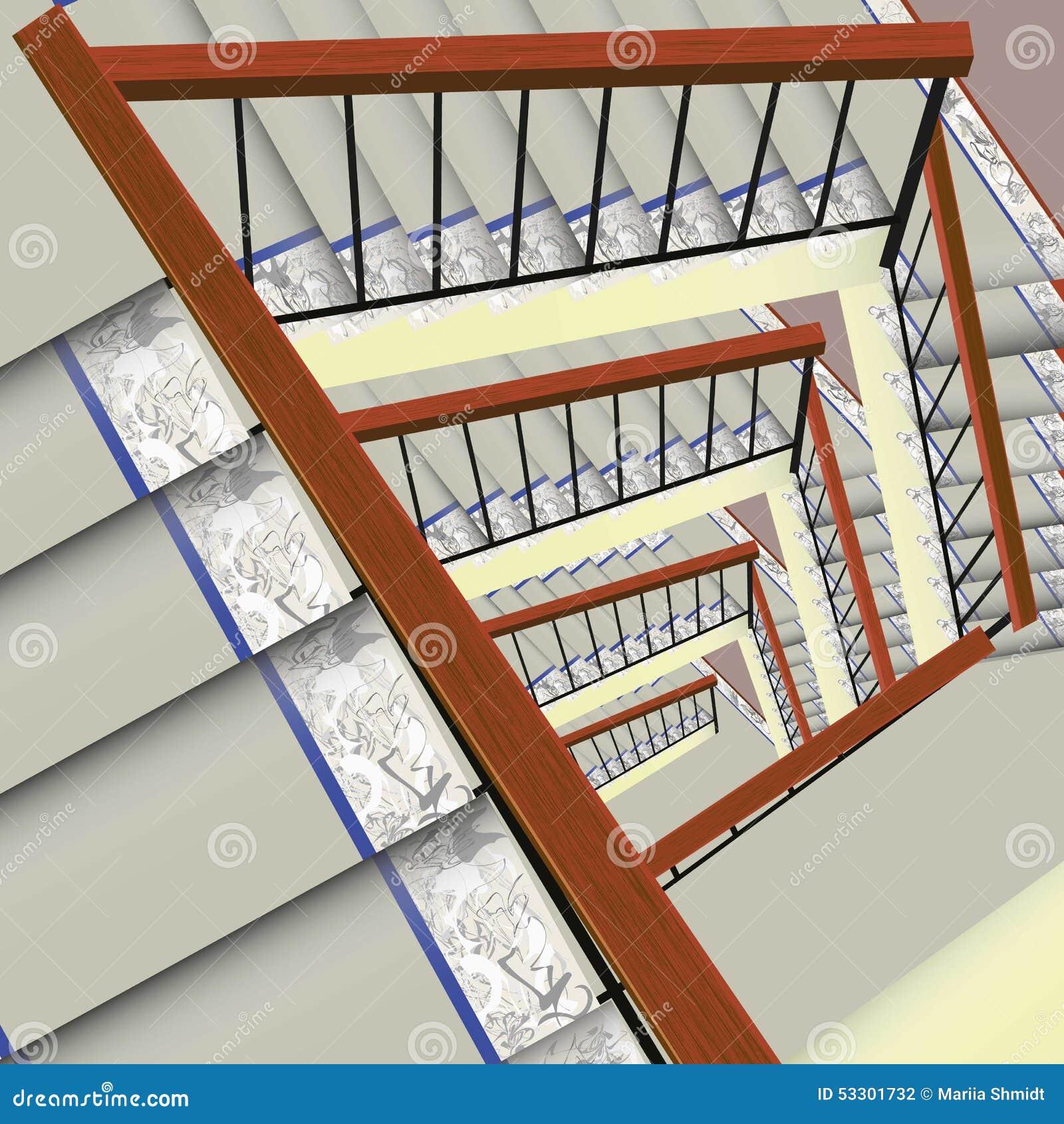 mit teppich ausgelegtes treppenhaus stock abbildung bild. Black Bedroom Furniture Sets. Home Design Ideas