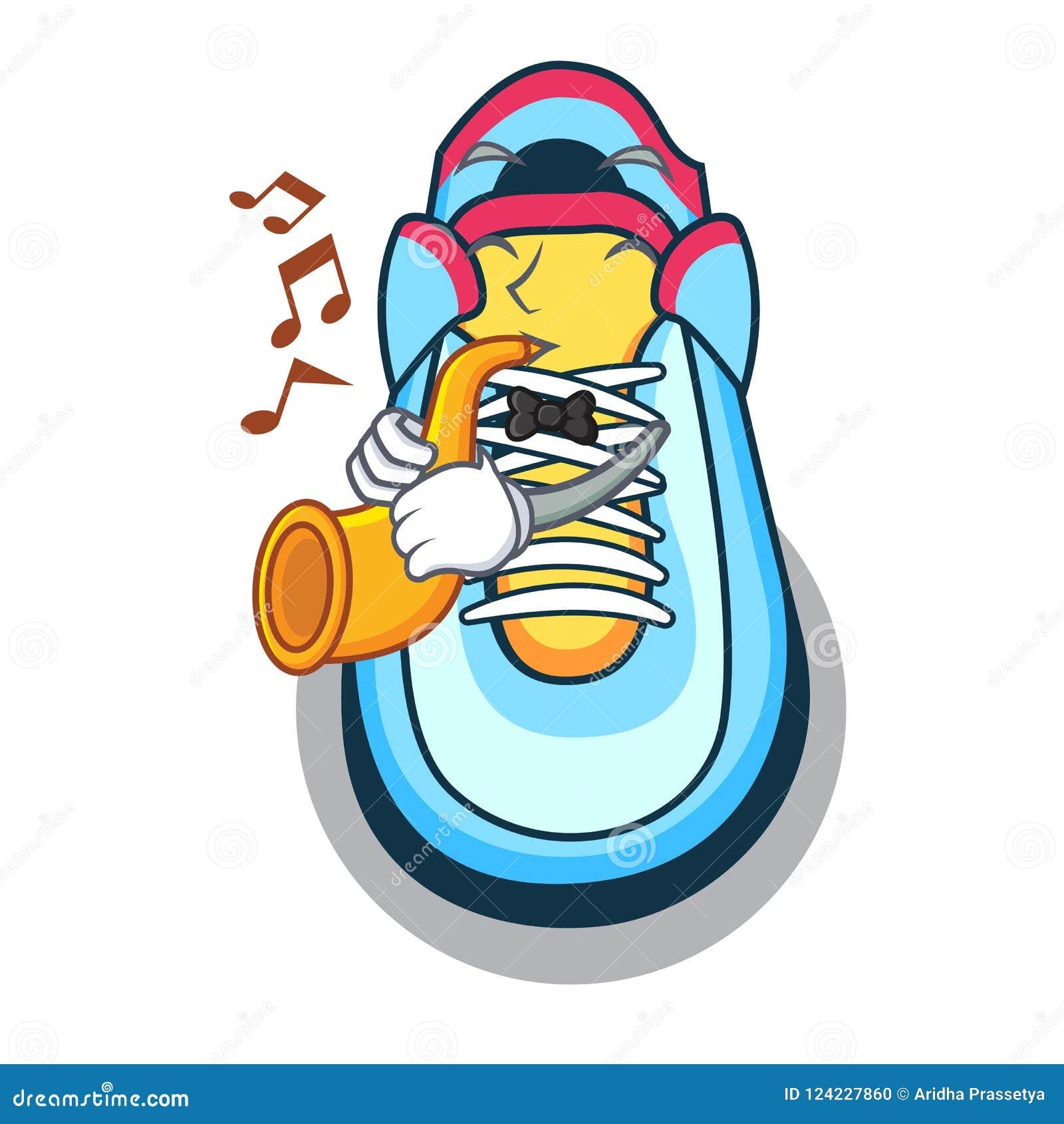 Mit Trompetenkarikaturturnschuh mit der Gummizehe