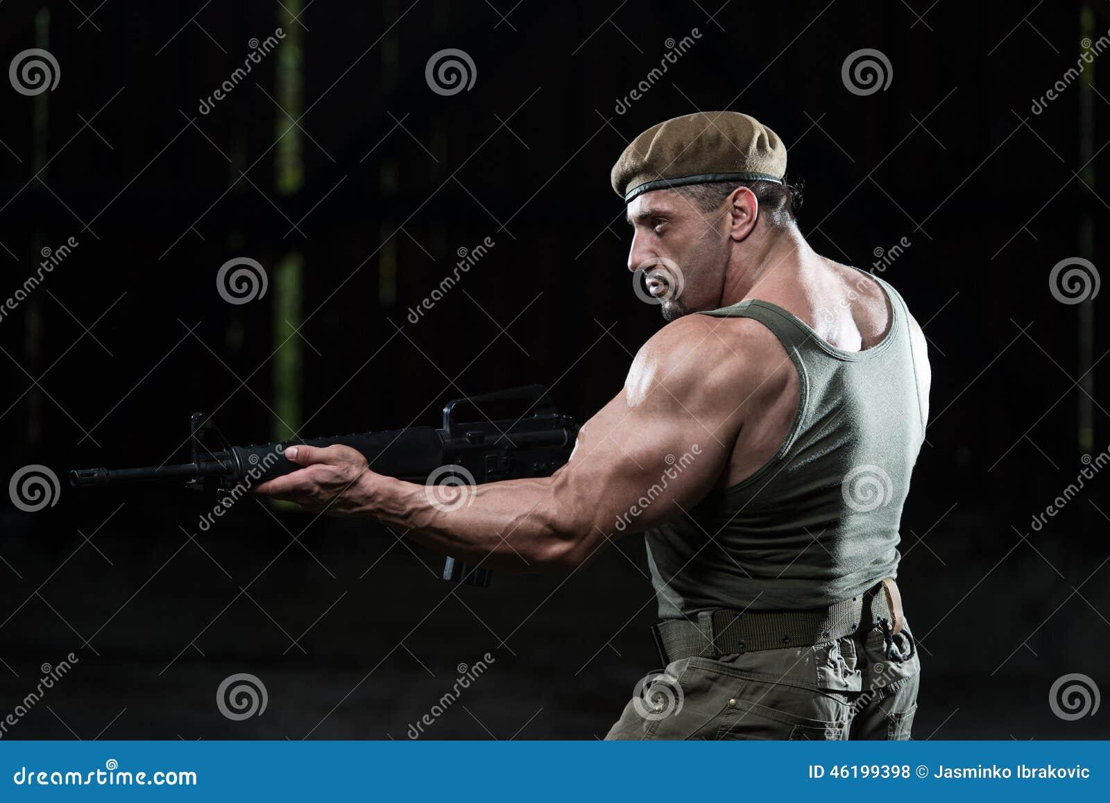 Mitrailleuse De Dessin D Homme Dans L Autodefense Photo Stock