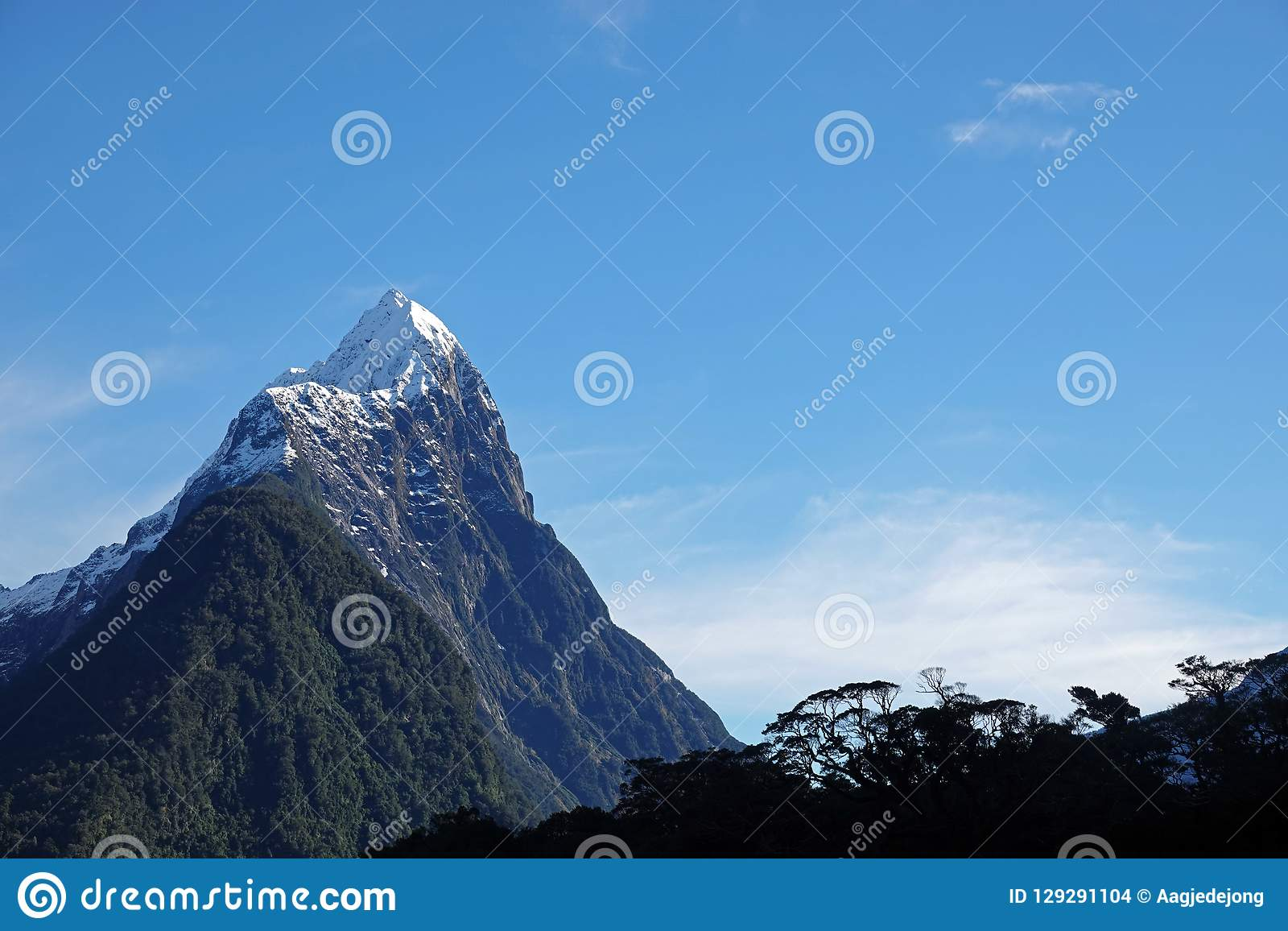 Mitre Peak with native trees in Milford Sound, New Zealand
