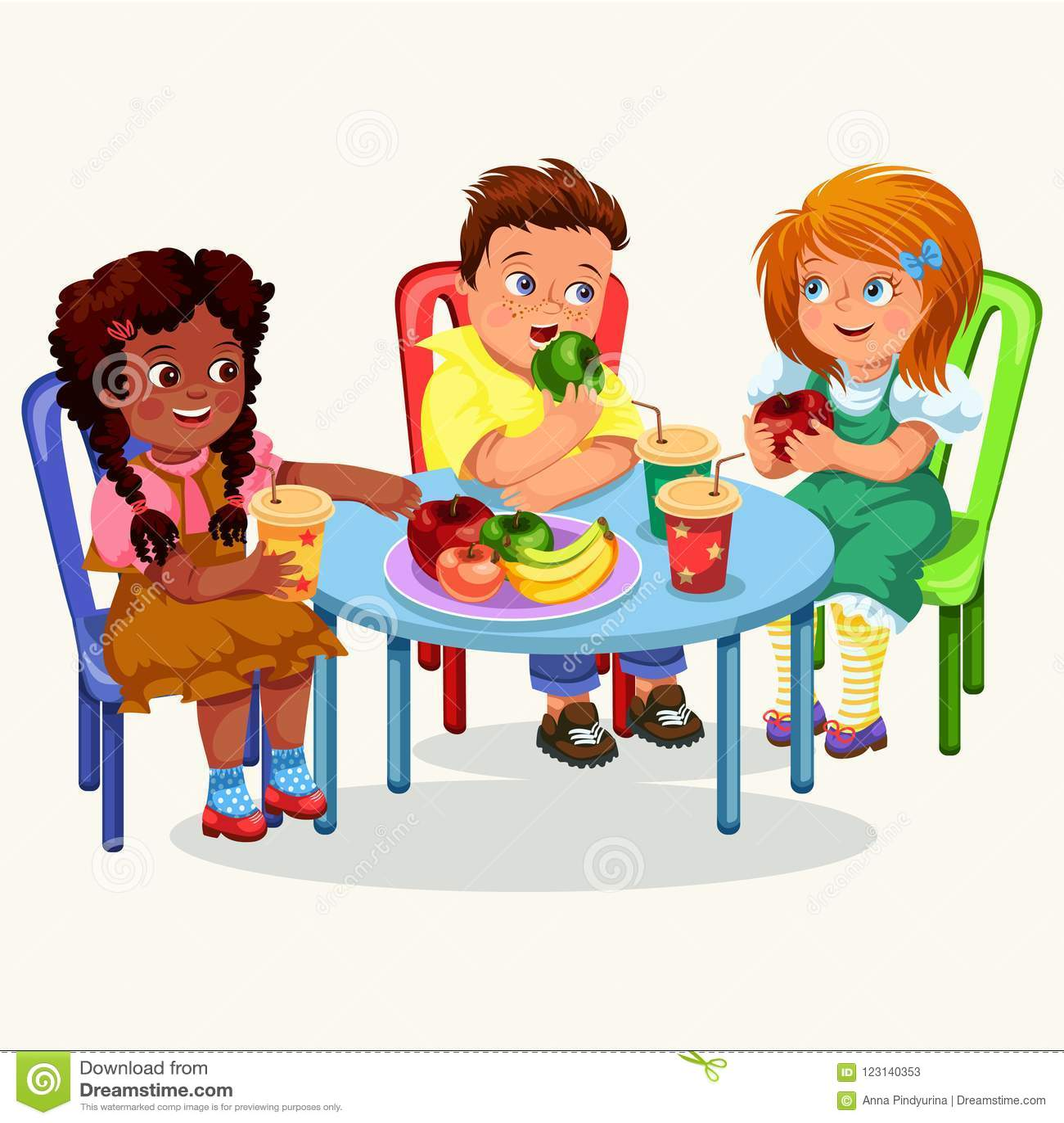 Mitschüler Die In Esszimmer Zu Mittag Essen Vektor Abbildung