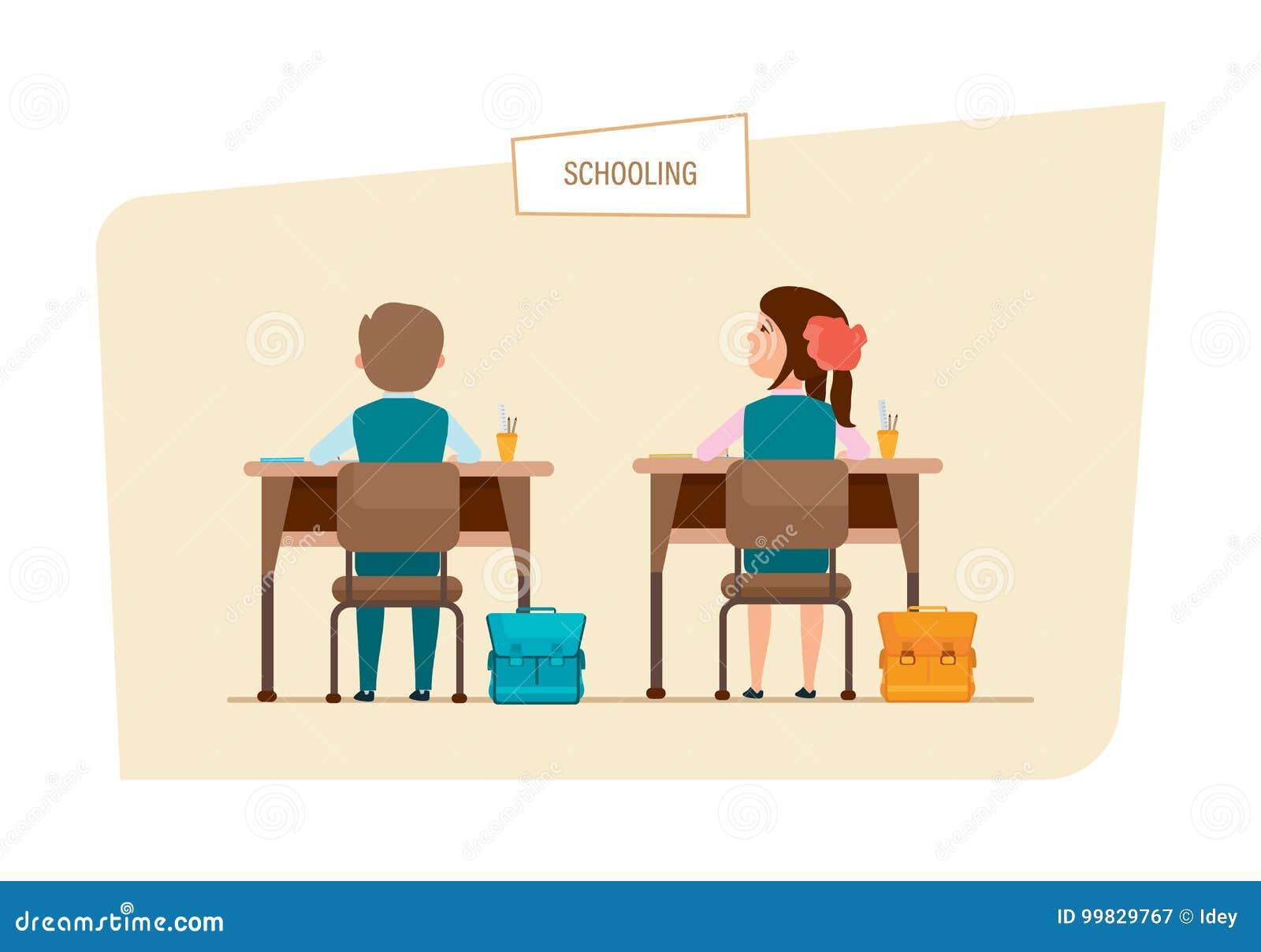 Mitschüler Sitzen Neben Einander, Hinter Schreibtischen, Mit Zubehör ...