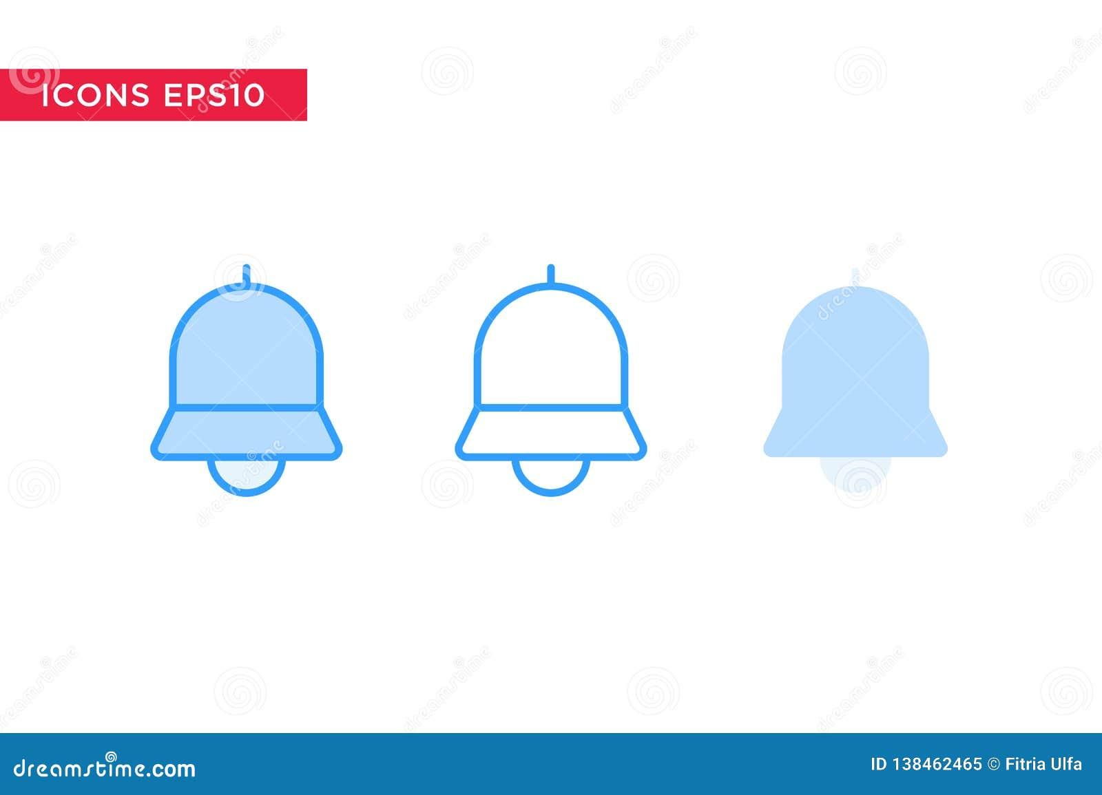 Mitteilung, Glockenikone in der Linie, Entwurf, gefüllter Entwurf und flache Entwurfsart lokalisiert auf weißem Hintergrund Vekto