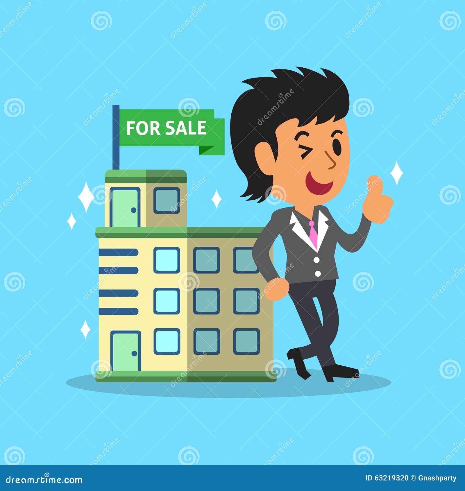 Mittel und Gebäude des Immobilienmaklers für Verkauf