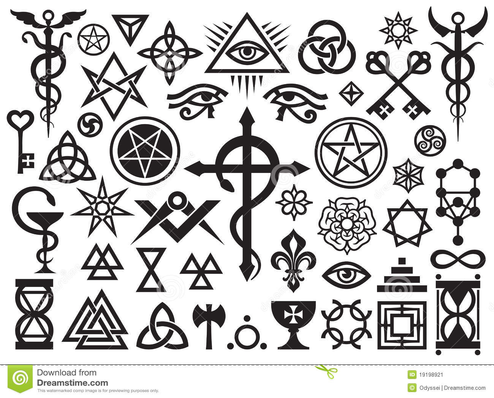 Mittelalterliche geheimnisvolle Zeichen und Magie-Stempel