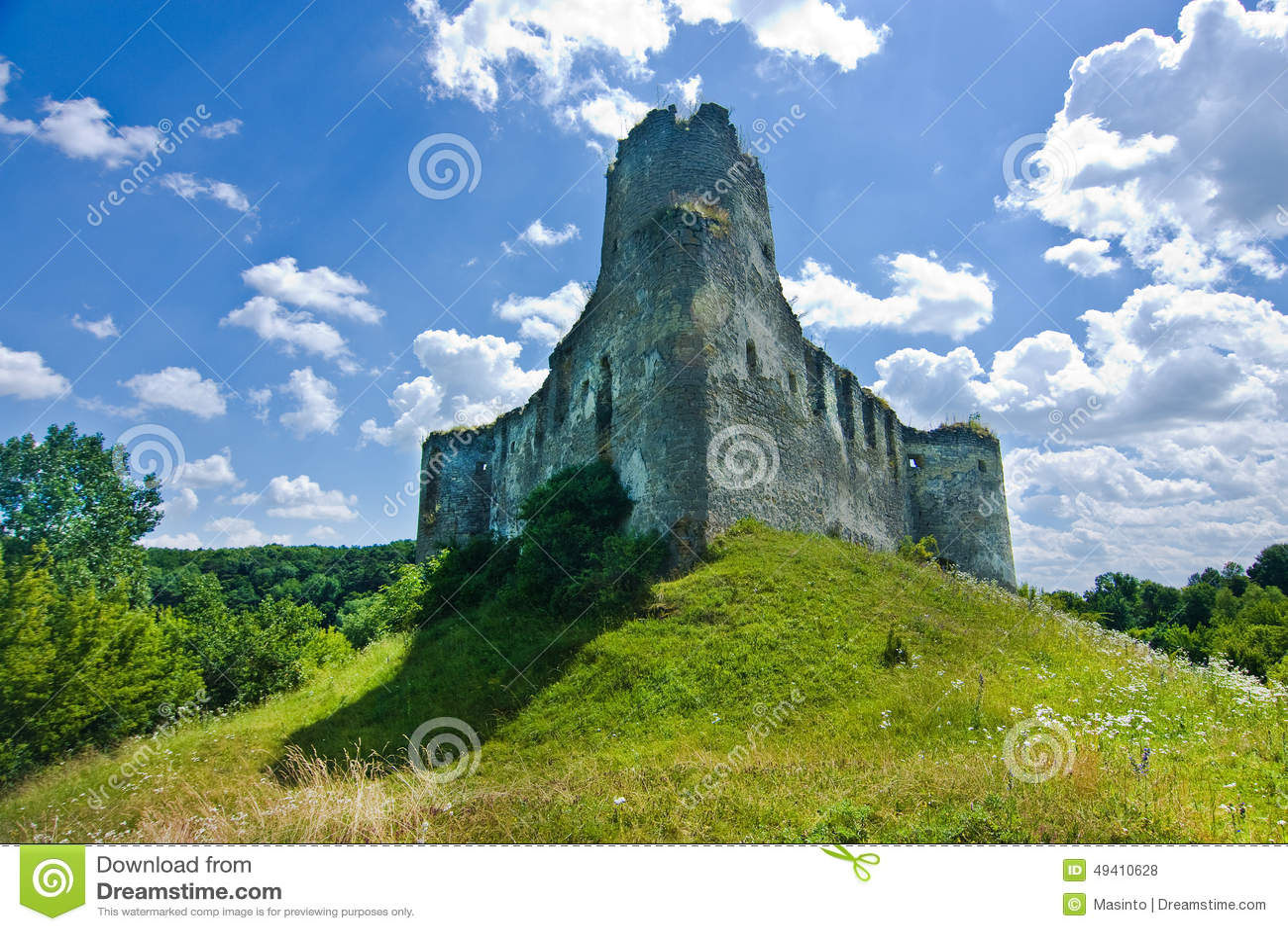 Download Mittelalterliches Schloss In Sidoriv Stockfoto - Bild von fort, grün: 49410628
