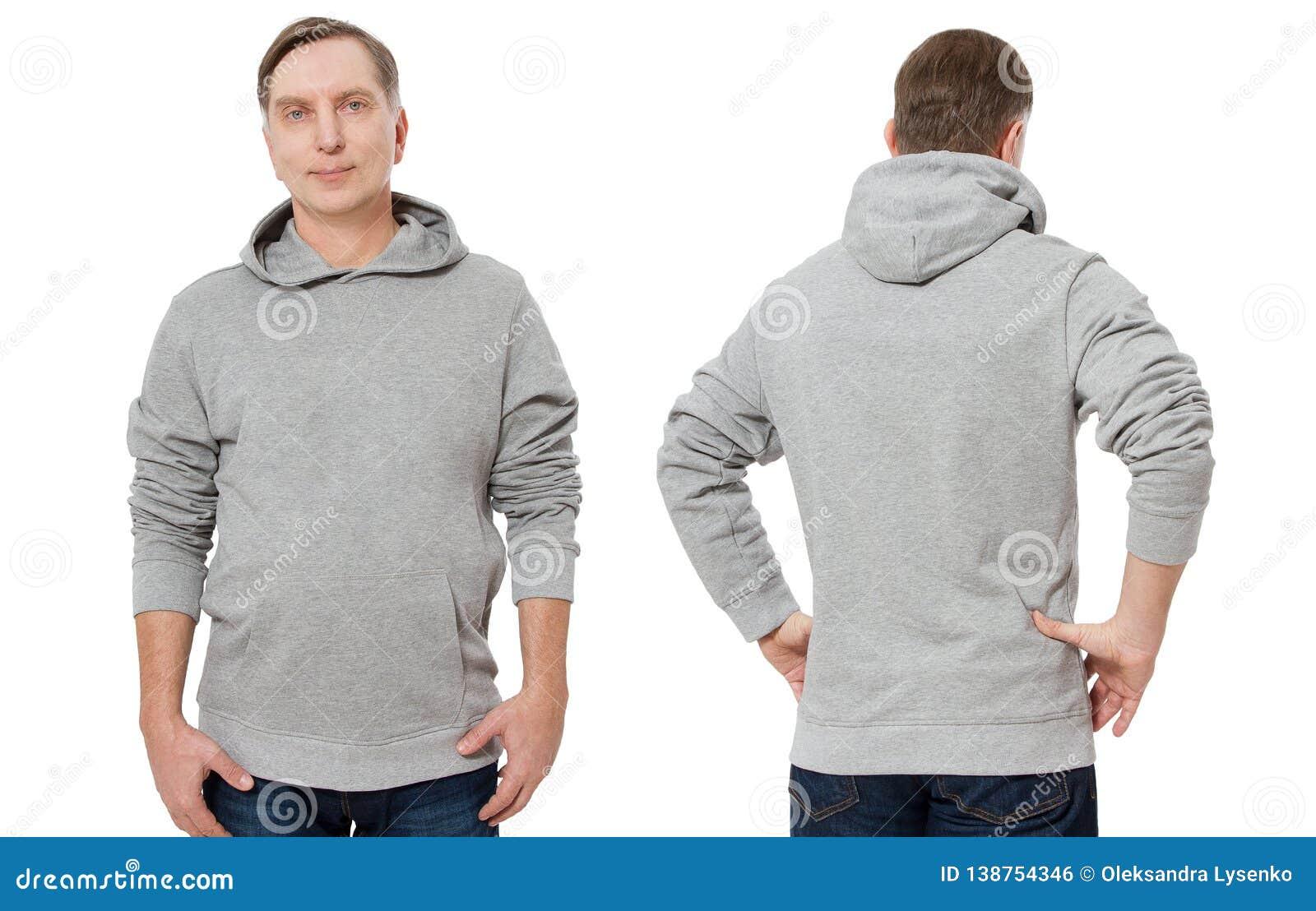 Mittelaltermann in der grauen Sweatshirtschablone lokalisierte Männliche Sweatshirts eingestellt mit Modell, Kopienraum Sweatshir