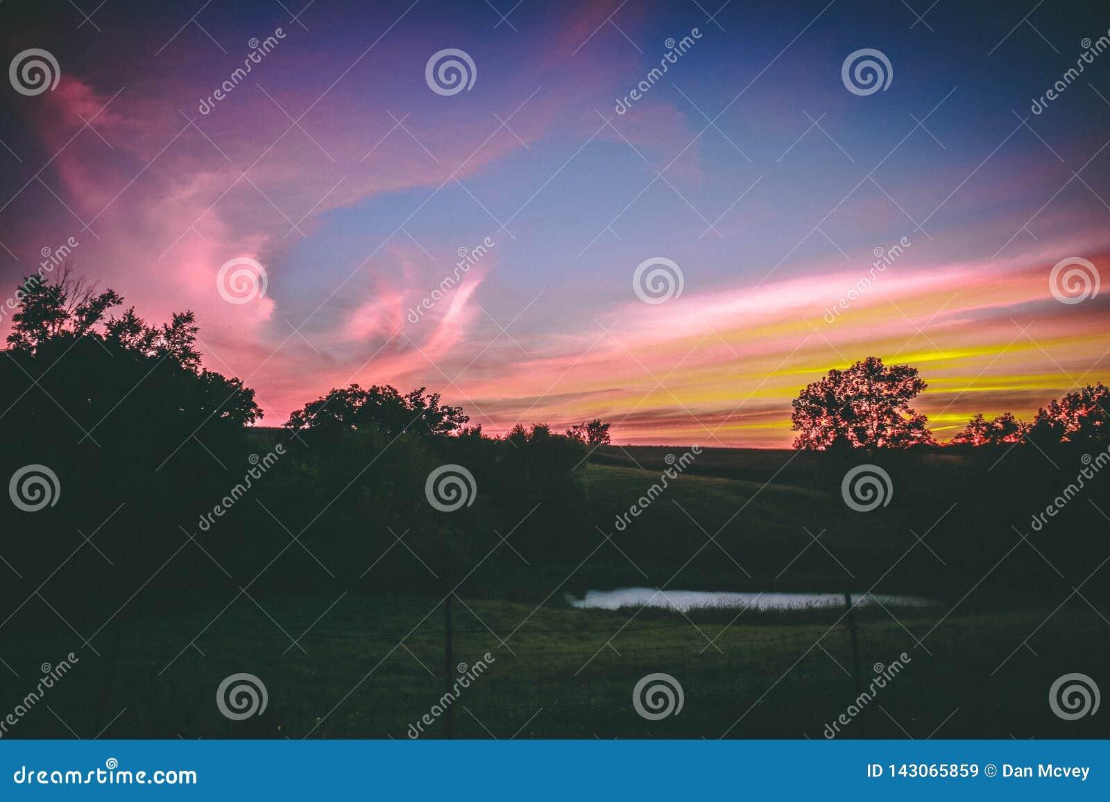 Mittelwesten-Weide bei Sonnenuntergang
