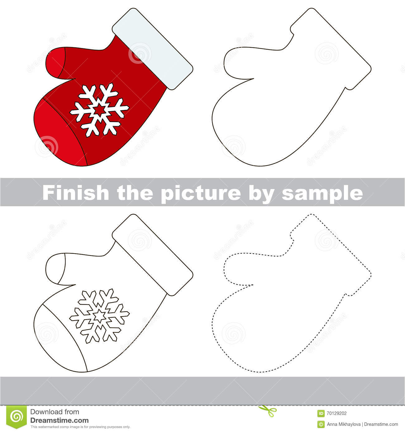 ... worksheet for children. Finish the picture and draw the cute Mitten