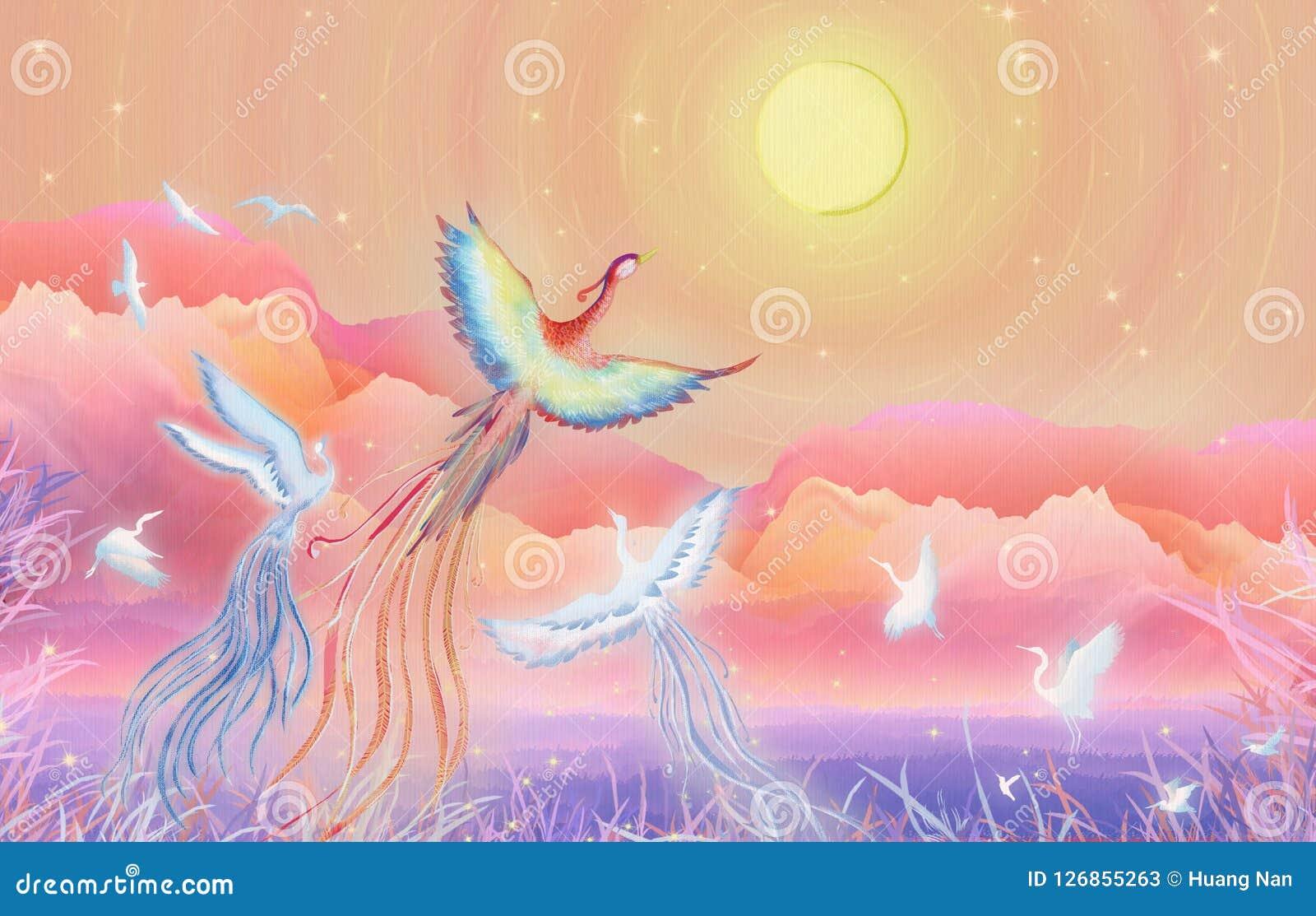 Mittherbstfestmond-Kuchenfestival, hundert Vögel in Richtung zum Phoenix blühen runde Illustrationsverpackung des guten Mondes