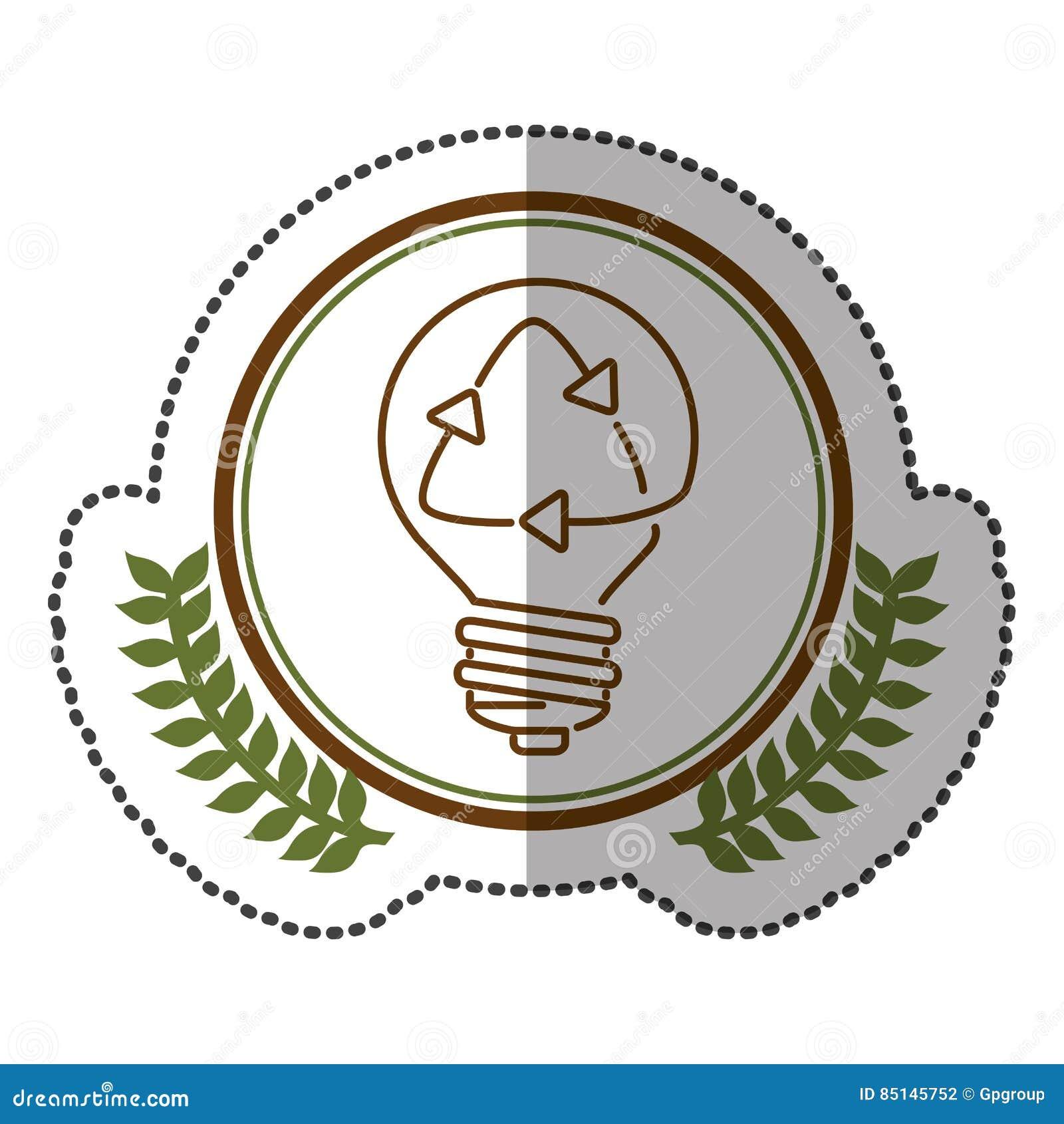 Mittlerer Schattenaufkleber bunt mit olivgrüner Krone mit Glühlampe mit der Wiederverwertung des Symbols im Kreis