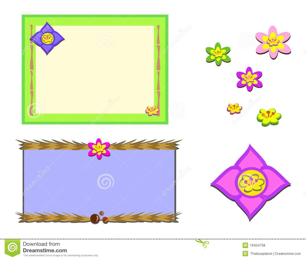 Mix Of Asian Frames And Flowers Stock Vector - Illustration of ...