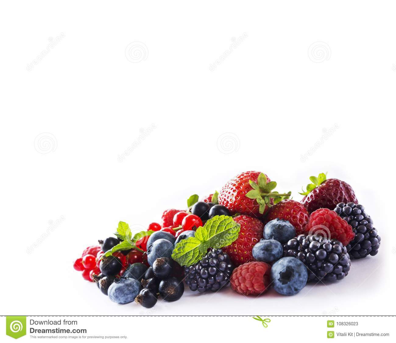 Mix berries isolated on a white. Ripe blueberries, blackberries, red currants, black currant, raspberries and strawberries. Variou