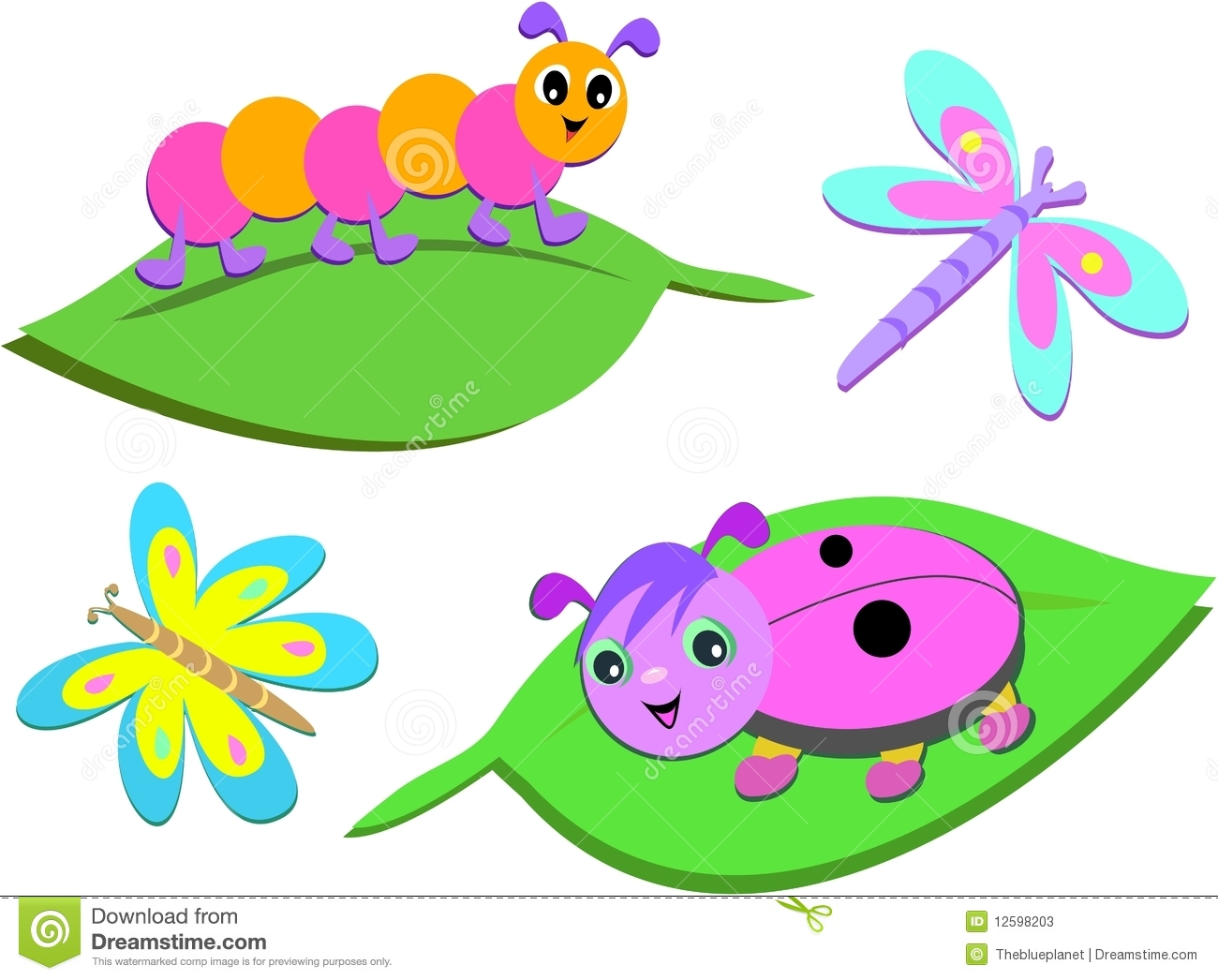 Mix Of Colorful Bugs Stock Photos - Image: 12598203